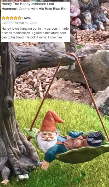 Harley the hanging leaf gnome. A miniature gnome and an original design by Twig & Flower™