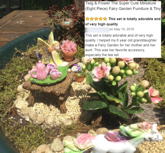Twig and Flower Minitature Fairy Tea Set 5-14-18